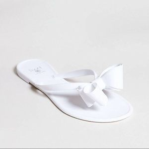 White bow sandals